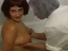 Lesbian Granny and young girl massag