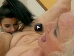 Sexy girl with long hair and sexy body with lod granny