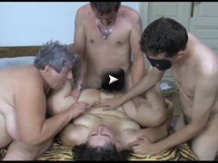 Chubby mature and two guys
