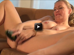 mature housewife riding a cucumber