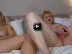 OldNanny Hot blonde girl masturbating with sexy mature